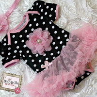 Black with pink polka dots  baby tutu romper  and headband set,tutu Onesuit ,Baby Girl romper.