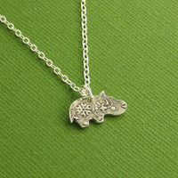 Hippo Necklace, Baby Hippo Necklace, Flowered Hippo, Floral Hippo, Fine Silver, Sterling Silver Chain, Made To Order