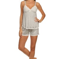 Jersey Lace Cup Detail Tank and Shorts Pajama Set - Gray/White