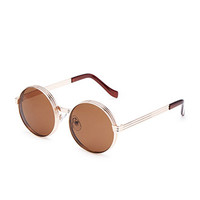 Stacked Metal-Frame Round Sunglasses