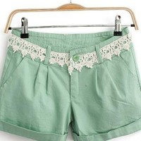 Pea Green Lace Waist Rompers