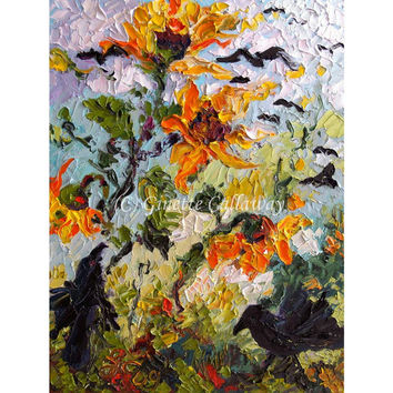 Ravens and Sunflowers impressionist Original by Ginette Callaway