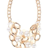 Short Chunky Chain Necklace with Pearls