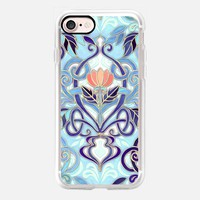 Ocean Indigo Art Nouveau Pattern with Coral Flowers opaque iPhone 7 Case by Micklyn Le Feuvre | Casetify