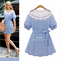 Light Blue Cuff Sleeve Mesh Floral Lace Neckline with Bow Waist Belt  Mini Dress
