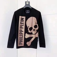 Philipp Plein Black Men Fashion Casual Print Sport Long Sleeve Top Tee Size M-XXXL