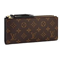 LV Louis vuitton hot seller of women's printed double zipper wallets with stylish clutch bags Black #1
