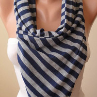 Dark Blue and Grey Striped Scarf - Combed Cotton - Summer Colors