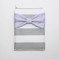 iPad Mini - Kindle - Nook - eReader Case - Gray and White Stripes Lavender Bow - Padded