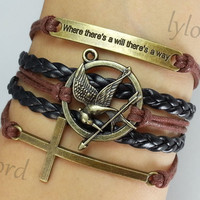 Bracelet- Where there's a will there's a way / Hunger games bracelet / Cross bracelet /