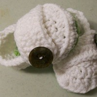 Baby Girl shoes-White Button Shoes-Green Sole-Crochet-Made in the USA