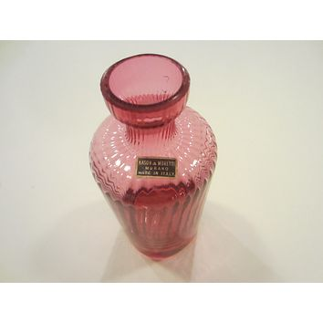 Nason Moretti Murano Pink Glass Vase Decanter Made in Italy