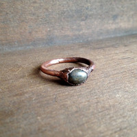 Jasper Ring - Tiny Ring - Raw Stone Ring - Copper Electroformed Ring - Semiprecious Stone Ring - SIZE 7