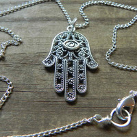 Hamsa necklace hand of Fatima necklace  hand by AdrianaSoto