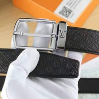 LV Woman Men Fashion Smooth Buckle Leather Belt Black-Sliver G-A-GFPDPF