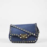 "Valentino Blue Leather Small ""Rockstud"" Flap Crossbody Shoulder Bag,shop Classic handbag as gift"