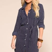 Do It Yourself Navy Stripe Button Up Dress