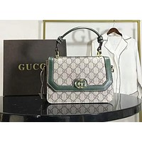 Gucci Popular Women Leather Satchel Crossbody Shoulder Bag Handbag(4-Color) Green I-AGG-CZDL