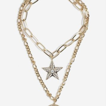 **Moon and Star Multirow Necklace | Topshop