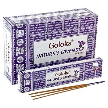 Goloka Nature's Lavender Incense - 15 Gram Pack (12 Packs Per Box)