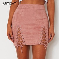 ARTICAT Sexy Lace Up Leather Suede Skirts Women Vintage Cross Zipper Split Mini Skirt Sexy High Waist Bodycon Short Pencil Skirt