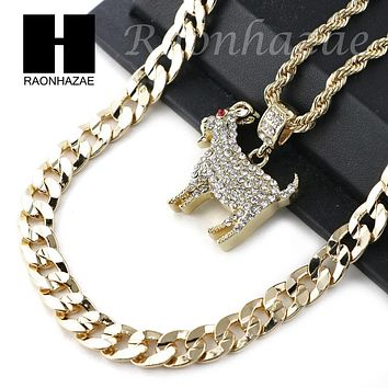 "KODAK BLACK GOAT CHARM DIAMOND CUT 30"" CUBAN CHAIN NECKLACE SET G24"