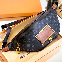 LV Fashion New Monogram Print Leather Waist Bust Bag Shoulder Bag Crossbody Bag Black