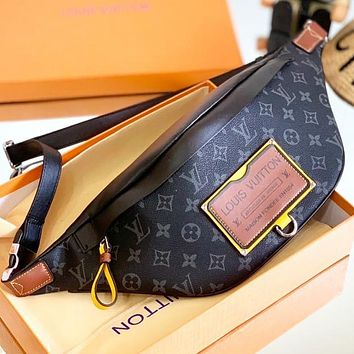 Hipgirls LV Fashion New Monogram Print Leather Waist Bust Bag Shoulder Bag Crossbody Bag Black