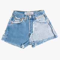 High Waisted Half Cut Out Vintage Shorts