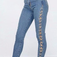 Claudette Laced Up Jeans