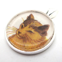 Cat Illustration Pendant from Vintage Children's Book, in Glass Tile Circle