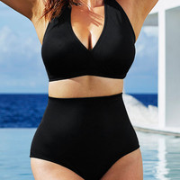 Plus Size Black High Waist  Halter Bikini Swimsuit