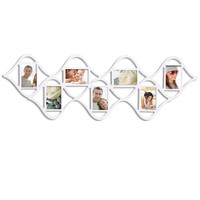 """Furnistar Decorative White Wood """"Double Wave"""" Wall Hanging Picture Photo Frame"""