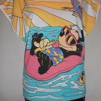 TRUE Vintage 80s Mickey Mouse Boxy Shirt Color Block Bright Neon Shades Rade Amazing Rare Collectable Disney