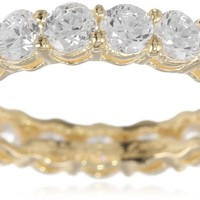 18k Yellow Gold-Plated Sterling Silver Round Cut Prong Set Cubic Zirconia All-Around Band Ring (2.7 cttw), Size 7