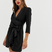 ASOS DESIGN mini tux dress with self tie belt | ASOS
