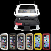 """Metal Extreme Shockproof Military Heavy Duty Tempered Glass Cover Case Skin for iPhone 6 6S 4.7""""/Plus 5.5"""" Full-Body Waterproof"""