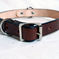 "Leather dog collar, 1"" wide, with rear D ring, large dog collar, brown leather collar, tan dog collar"