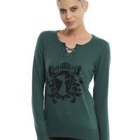 Disney Brave Merida Green Lace-Up Neck Girls Sweater