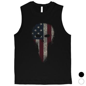 Vintage American Skull Mens Graphic Muscle Tee Gift For 4th of July