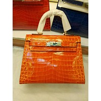 HERMES WOMEN'S CROCODILE LEATHER KELLY HANDBAG INCLINED SHOULDER BAG