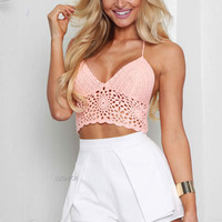 Crochet Coral Crop Top @ LushFox.com :: Current Fashion Trends & Styles