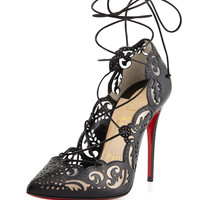 Christian Louboutin Impera Lace-Up Laser-Cut Red Sole Pump, Black