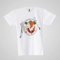 bb401spchdl - Screen Printed Poly-Cotton Short Sleeve T-Shirt - With Cheese Please-C. White