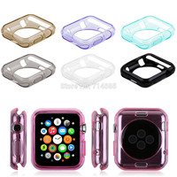 0.8mm Luxury Quality Soft TPU Gel Case Cover Skin for Apple Watch 38mm 42mm 8 Color Black Blue Clear Golden Gray Pink Purple Red