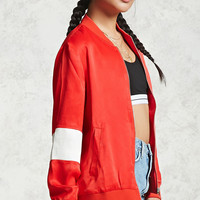 Striped Satin Bomber Jacket - Women - Outerwear - 2000251088 - Forever 21 Canada English