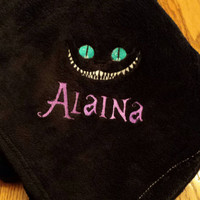 CHESHIRE CAT PLUSH Fleece BLANKeT THRoW EMBRoIDERED & Personalized 50X60 PeRFECT SnuGGLE Up! Designs by Sugarbear