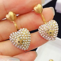 DIOR New Fashion Women Delicate Pearl Diamond Heart Pendant Earrings Jewelry Accessories