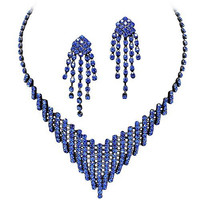 Royal Blue Sapphire Rhinestone Flattering V Style Necklace Set On Grey Metal Prom Bridesmaid Evening V1