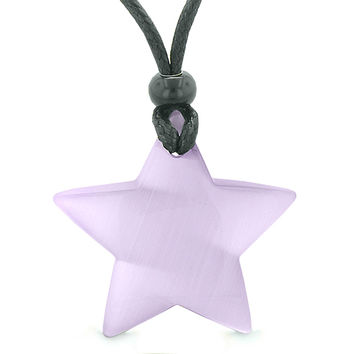 Amulet Magic Super Star Positive Powers Purple Cats Eye Crystal Lucky Charm Pendant Necklace